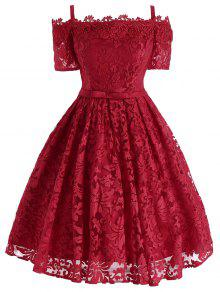 الدانتيل الزهور الباردة بونوت اللباس الرسمي - أحمر L
