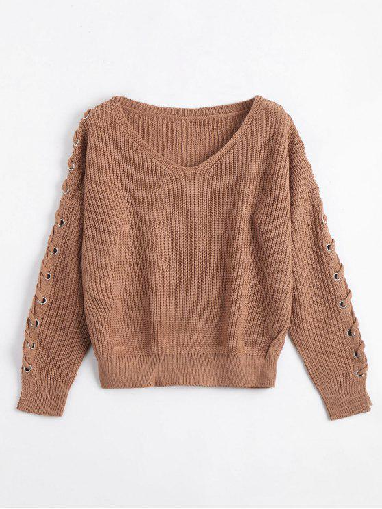 sale V Neck Lace Up Sleeve Sweater - COFFEE ONE SIZE