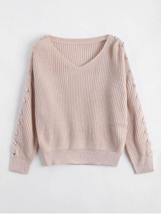 affordable V Neck Lace Up Sleeve Sweater - LIGHT APRICOT PINK ONE SIZE