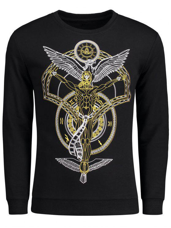 Patterned Crew Neck Sweatshirt - Schwarz 2XL