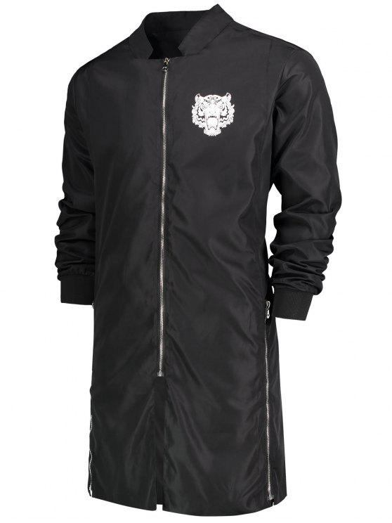 new Zippered Graphic Longline Coat - BLACK XL