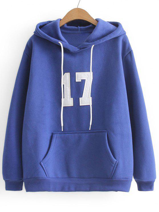 Übergröße Hoodie mit Kontrastierendem Buchstabe - Blau Eine Größe