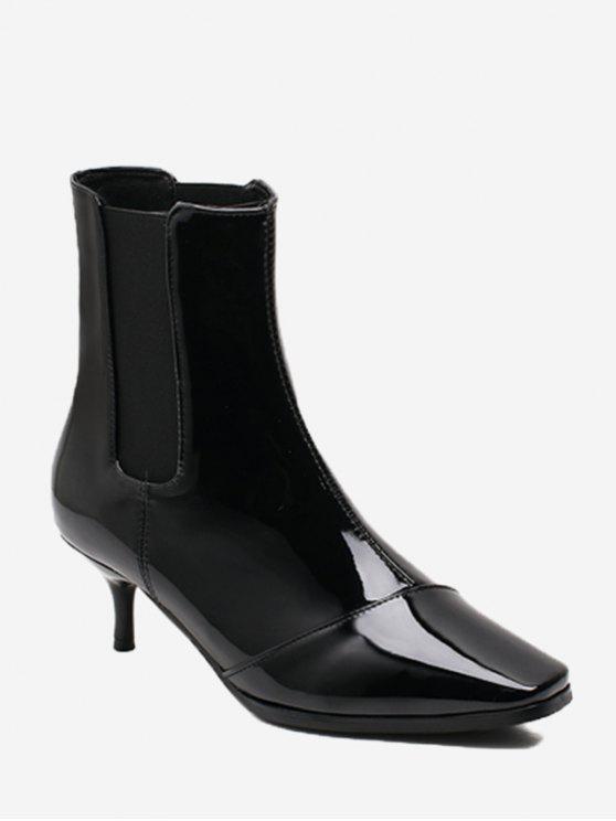 women's Kitten Heel Square Toe Ankle Boots - BLACK 39/7.5