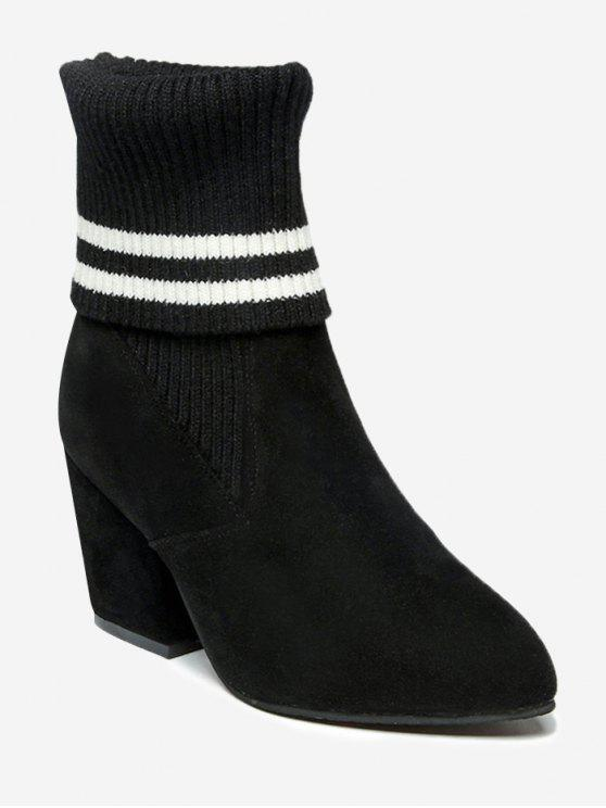 new Pointed Toe Mid Heel Striped Boots - BLACK 37/6.5