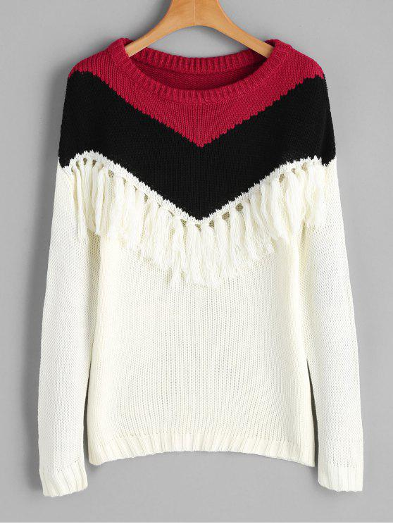 outfit Drop Shoulder Tassels Contrast Sweater - MULTI ONE SIZE