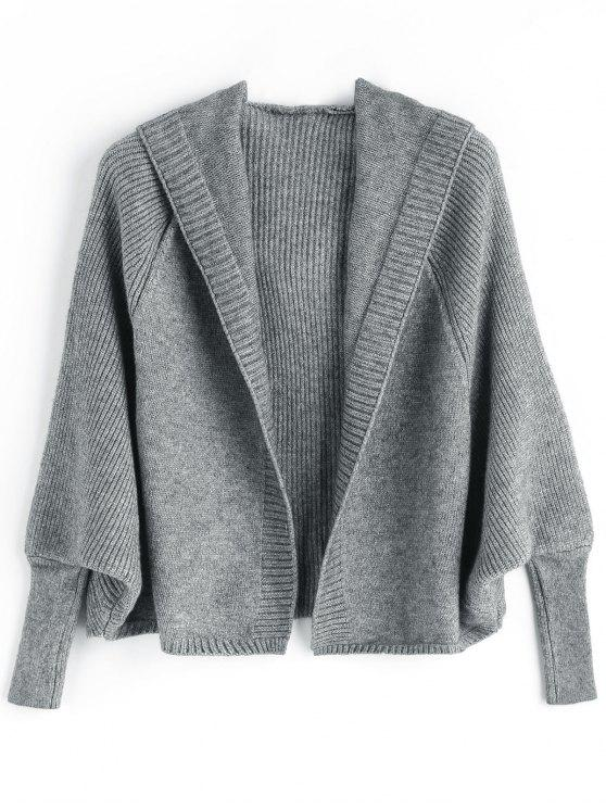 latest Open Front Plain Hooded Cardigan - DEEP GRAY ONE SIZE