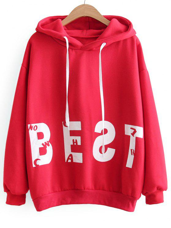 affordable Oversized Drawstring Cat Letter Hoodie - RED ONE SIZE