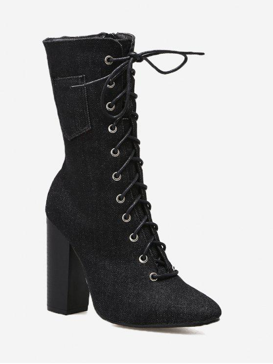 hot Denim High Heel Mid Calf Boots - BLACK 40/8
