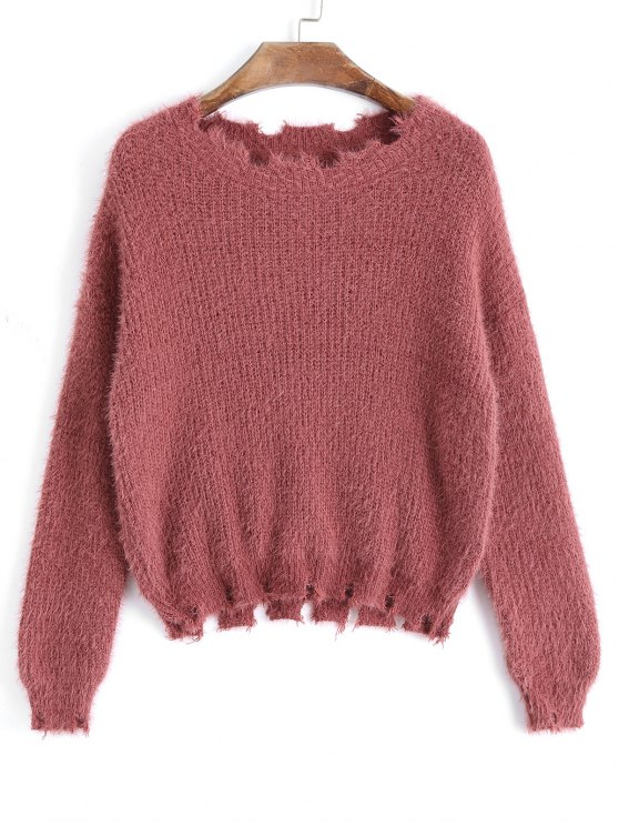 best Fuzzy Frayed Pullover Sweater - RUSSET-RED ONE SIZE