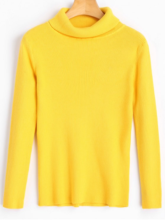 outfit Ribbed Turtleneck Knitted Top - YELLOW S