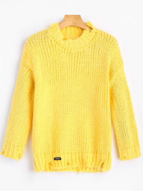Patchwork Ripped Chunky Sweater YELLOW: Sweaters ONE SIZE | ZAFUL