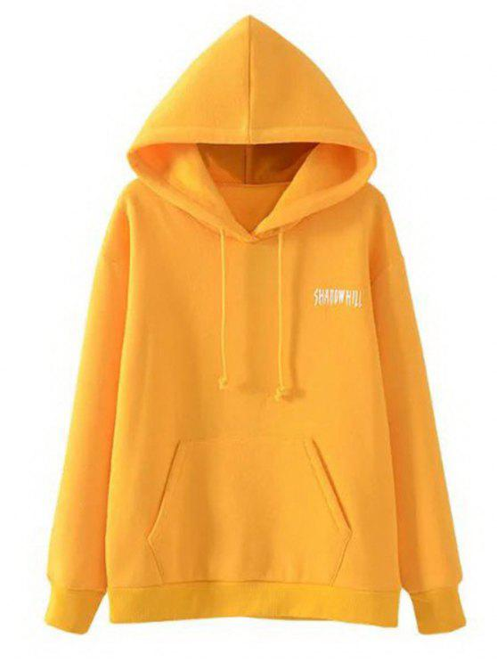 latest Pocket Drawstring Loose Letter Hoodie - YELLOW L