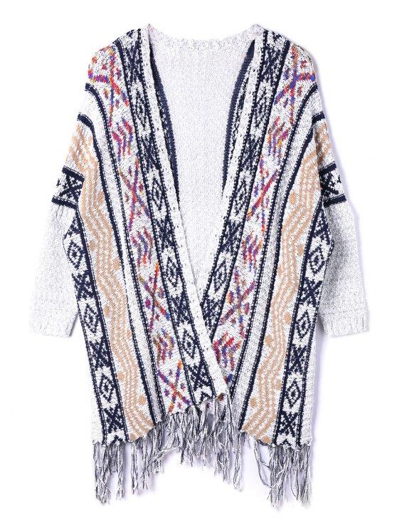 Cardigan en Jacquard avec Franges Style Ethnique Grande-Taille - Multicolore 5XL