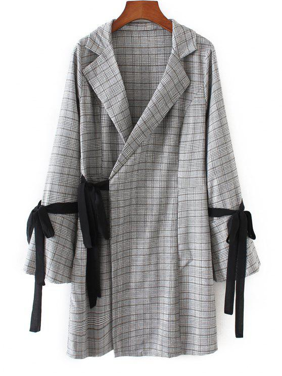 shops Long Sleeve Checked Wrap Dress - CHECKED S