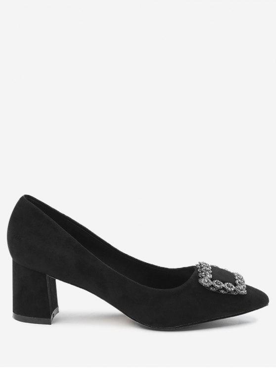 womens Pointed Toe Chunky Heel Rhinestone Pumps - BLACK 38