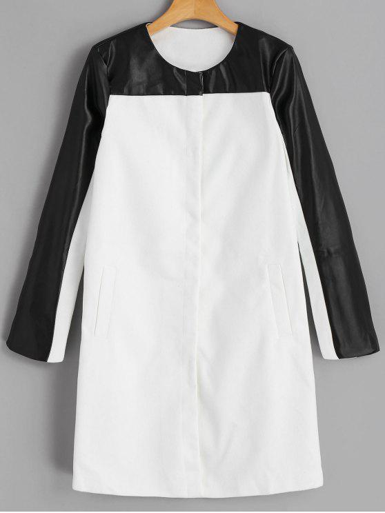 latest Snap Button Faux Leather Panel Coat - WHITE S