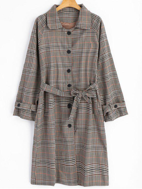 buy Button Up Pockets Checked Belted Coat - CHECKED ONE SIZE