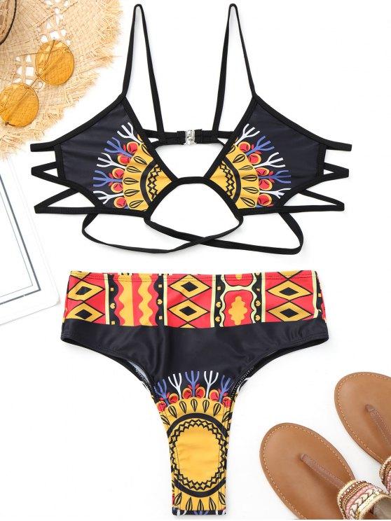 Bikini estampado con estampado de alta costura - Negro S