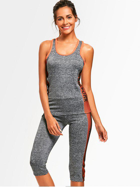 best Heathered Top with Capri Pants Sweat Suit - ORANGE ONE SIZE
