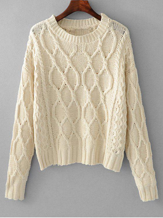 Loose Cable Knit Pullover Sweater OFF-WHITE: Sweaters ONE SIZE | ZAFUL