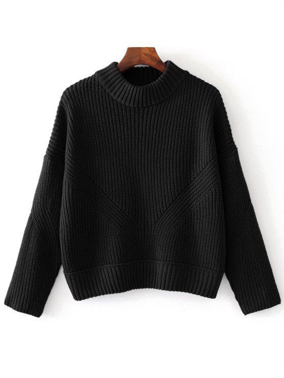 9b545522b7 2019 Sheer Mock Neck Pullover Sweater In Black One Size Zaful