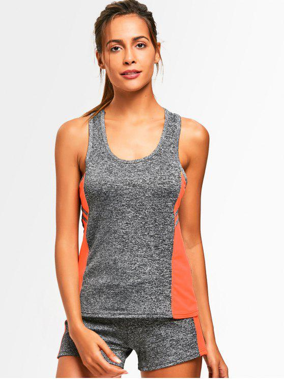 women Racerback Heathered Top with Shorts Gym Suit - ORANGE ONE SIZE