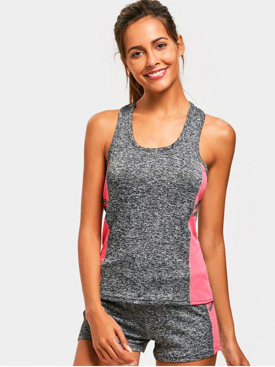 ladies Racerback Heathered Top with Shorts Gym Suit - PINK ONE SIZE