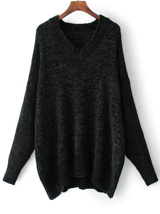 V Neck Pullover Oversized Sweater BLACK: Sweaters S | ZAFUL
