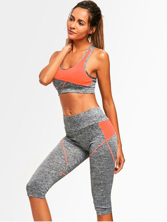 fancy Color Block Heathered Sports Bra with Capri Pants - ORANGE ONE SIZE