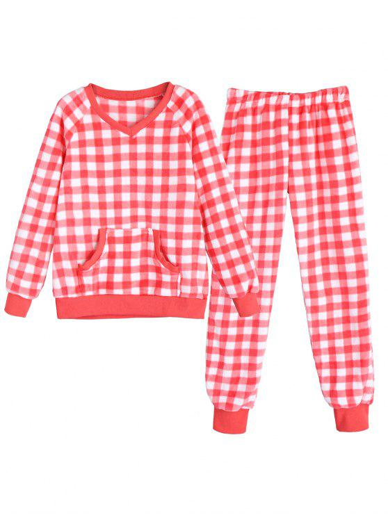 best Flannel Checked Pajamas - RED AND WHITE M