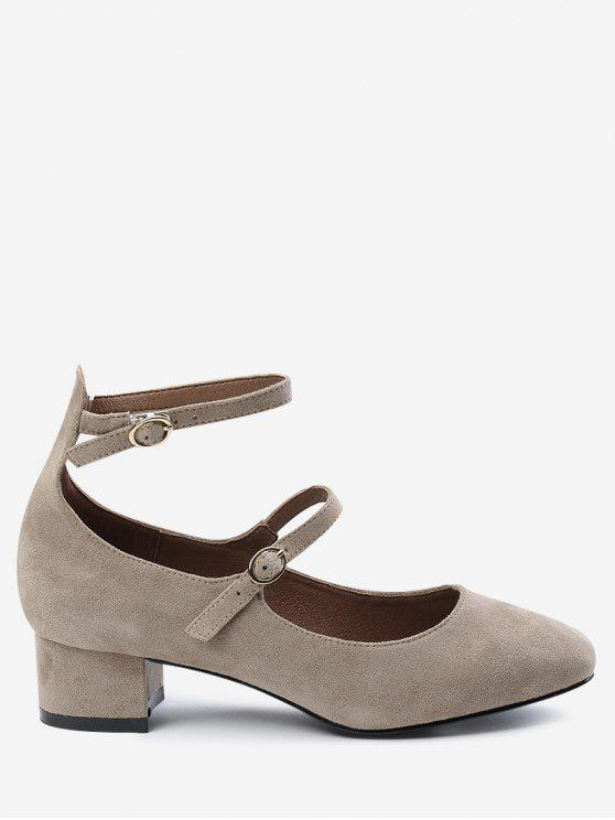 outfits Buckle Straps Ankle Strap Pumps - APRICOT 39