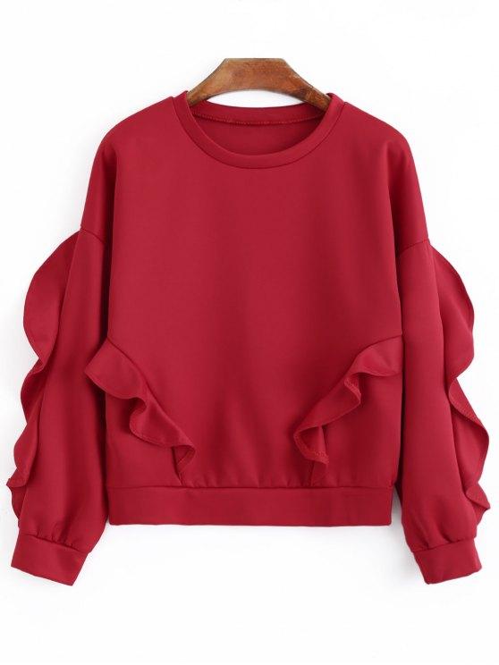 hot Oversized Ruffles Sweatshirt - RED M
