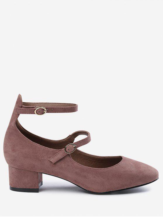حذاء مشدود بحزامين - لون معجون الفول 39