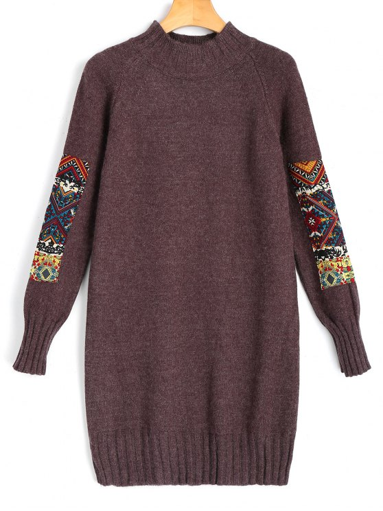 best Long Sleeve Jacquard Sweater Mini Dress - BROWN ONE SIZE
