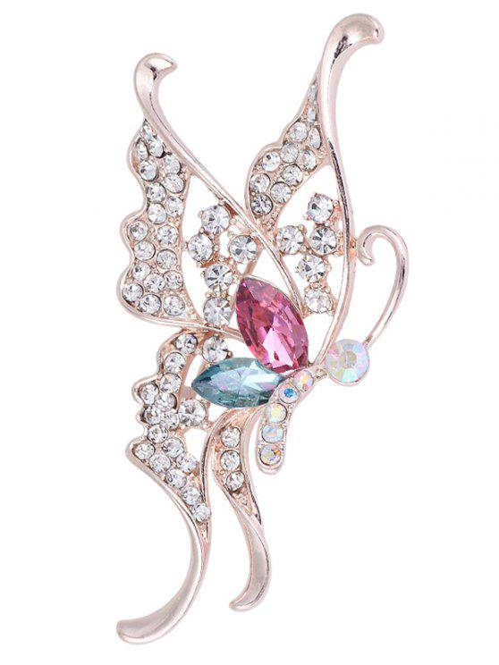 Rhinestone Faux Crystal Butterfly Brooch - COLORIDO