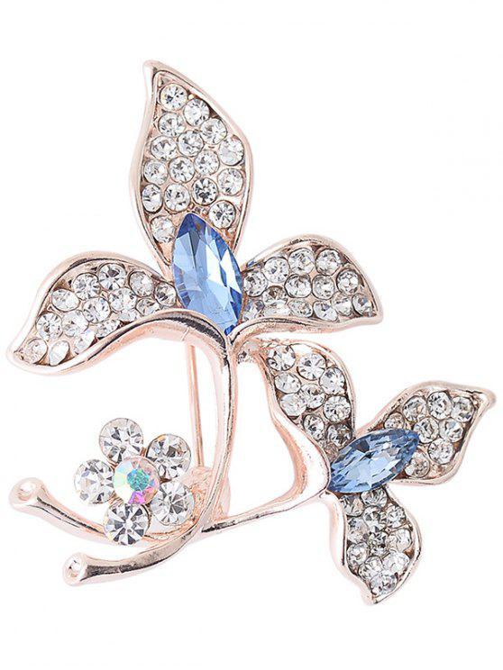 fashion Rhinestone Faux Gem Floral Sparkly Brooch - BLUE