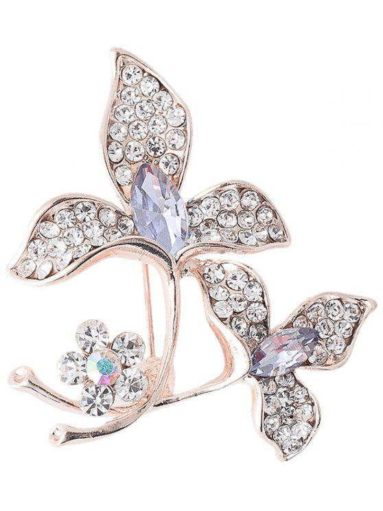 buy Rhinestone Faux Gem Floral Sparkly Brooch - PURPLE