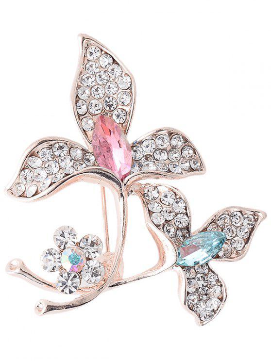 حجر الراين فو جوهرة الزهور سباركلي بروش - ملون