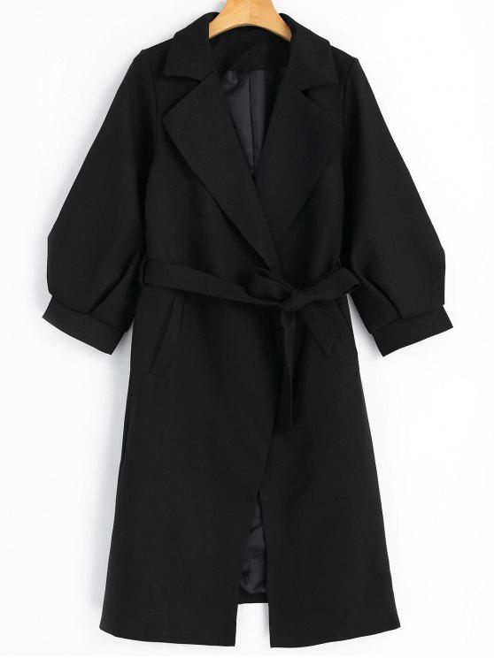 women's Lapel Belted Coat with Pockets - BLACK M