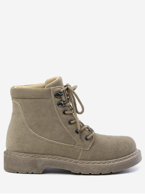 lady Lace Up Desert Ankle Boots - KHAKI 36