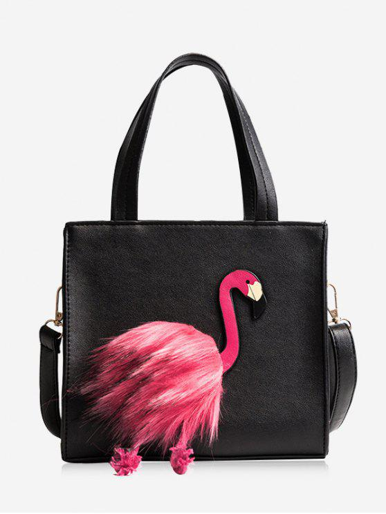 affordable Flamingo PU Leather Handbag - BLACK