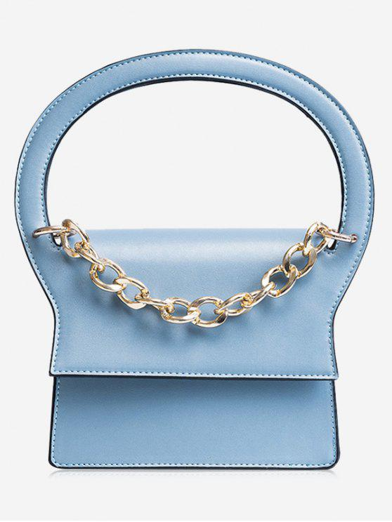 ladies Chain Faux Leather Handbag With Strap - BLUE