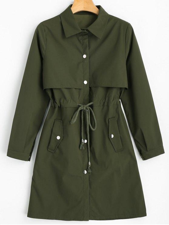 معطف الخندق بلون واحد مشد الخصر تصميم زر - الجيش الأخضر XL
