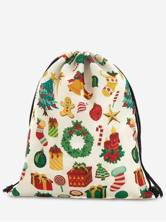 chic Print Christmas Drawstring Backpack - GREEN