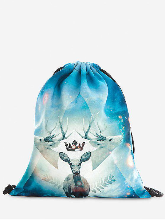 fancy Print Christmas Drawstring Backpack - LIGHT BLUE