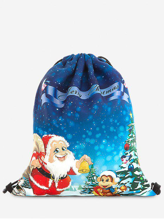 affordable Print Christmas Drawstring Backpack - BLUE