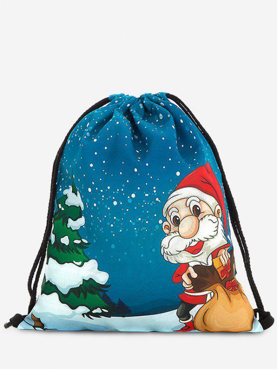 women Print Christmas Drawstring Backpack - DEEP BLUE