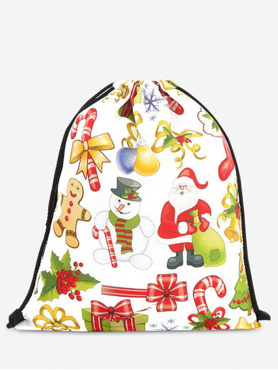 women's Print Christmas Drawstring Backpack - YELLOW