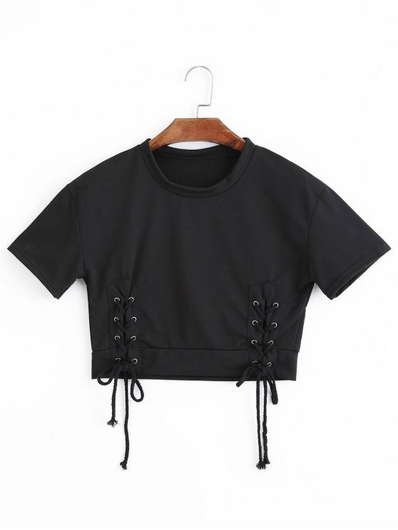 6ccdc38a7693 28% OFF] 2019 Short Sleeve Lace Up Cropped Top In BLACK | ZAFUL
