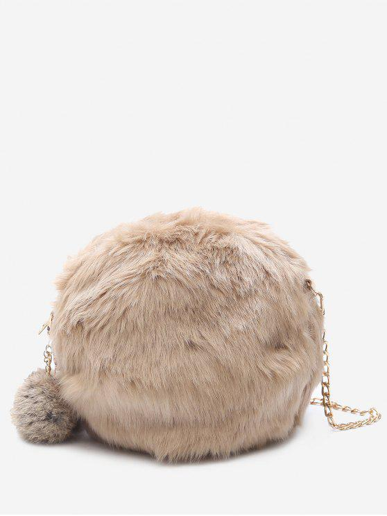 womens Chain Faux Fur Pompom Crossbody Bag - KHAKI